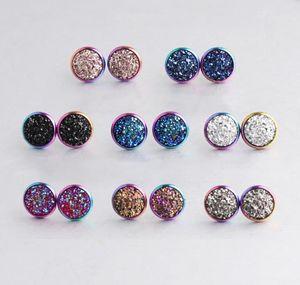 12mm 31 Renkler Reçine Druzy Kristaller Gem Gökkuşağı Altın Kaplama Renkli Saplama Küpe Kadınlar Kızlar Için Yeni Paslanmaz Çelik Takı Brithday