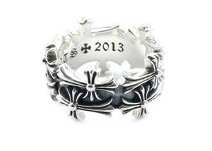 925 prata esterlina anéis homens tendência personalidade jóias estilo punk mulheres dos amantes do hip hop de duas camadas cruz designer de jóias de luxo