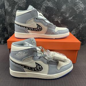 Com Box 2020 novo Release 1 alta maquiagem x Sapatos Air Womens Mens Basketball Grey Crystal White inferior Sneakers Tamanho 36-45