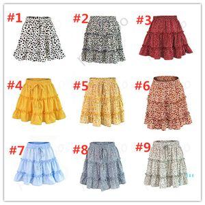 2020 Verão Mulheres Vestido Curto Flora Dot Impresso saias de cintura alta Vestidos Lotus Folha de Borda cintura elástica vestido da senhora o desgaste do partido roupa LY330