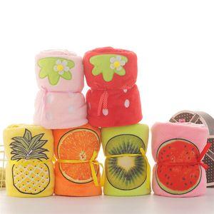 Flannel Fruits Blanket Soft Pineapple Roll Blanket Orange Strawberry Blanket Home Children's Nap Blankets Kids Nursing Shower Quilts