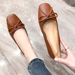 The new design of high-quality flat shoes ladies wild simple bowknot fashion women casual casual shoes solid color sexy mature QWE