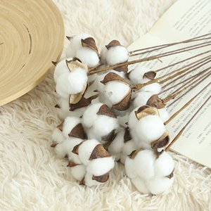 White Cotton Branch Artificial Flower Head 10PCS LOT dried Artificial DIY Naturally Dried Cotton Stems Farm house decorative