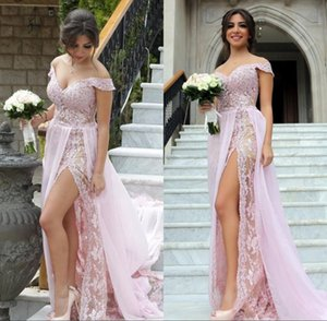 High Side Split Long Prom Dresses with Chiffon Overskirts Off Shoulder Zipper Back Robes De Soiree Evening Party Gowns