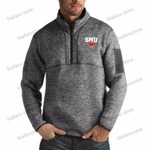 СМУ Мустанги пуловер Кофта мужского Форчун Big Tall Quarter-Zip Pullover Жакеты прошитых Американского футбол Спорт толстовка
