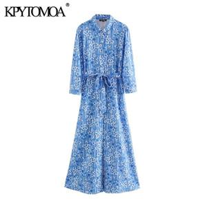 KPYTOMOA Mulheres 2020 Imprimir Floral Moda Chic com cinto Midi shirt Quarter Vestido Três Vintage luva Feminino Vestidos Vestidos
