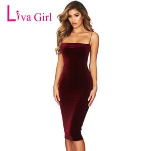 LIVA GIRL 섹시한 나이트 클럽 벨벳 파티 미디 드레스 여성 여름 스파게티 핸드폰 스트랩 Bodycon Dresses Black Vestidos Verano New 2018