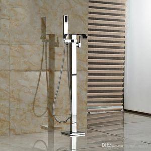 Chrom poliert Einhand-Wasserfall freistehende Badewanne Waschbecken Wasserhahn mit Handbrause Bodenmontage Badewanne Mischbatterie