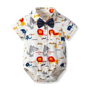 Baby Boys Cartoon Pagliaccetto Leone Stampato Papillon Manica corta Risvolto Tuta Infantile Moda Animale Stampato Tutina B11