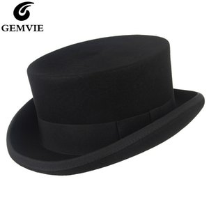 O feltro de lã Mulheres New Cylinder Hat Topper Mad Hatter Partido Top Hat For Men / Costume Fedora Derby Magician Hat Y200110