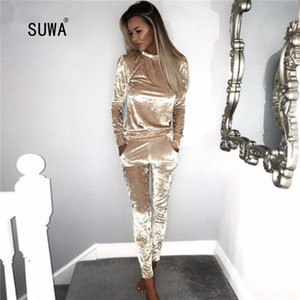 Solid Color Two Piece Set Fashion Streetwear Women O Neck Long Sleeve Pullover T-shirt Top And Pocket Pencil Trousers Outfits T200615