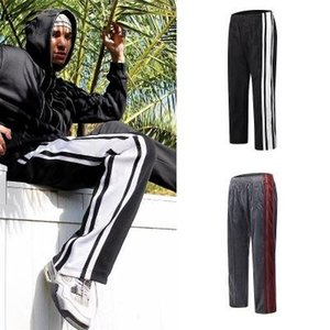 2019 HIp hop streetwear Old School side stripe velvet track pants Suede sports retro trousers loose casual stitching striped straight pants