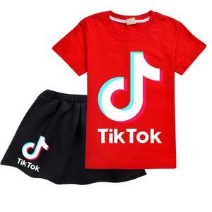 Kids Designer Clothes Baby Girls Two Piece Clothing Set Tik Tok t shirt Cotton Skirt for Teen Girls Short Sleeve tShirts Princess Dress