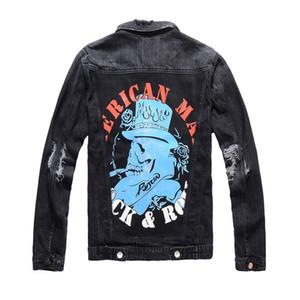 남성 스타일 재킷 19fw 남성 여성 레트로 클래식 데님 재킷 하이 스트리트 자수 데님 재킷 코트 찢어진