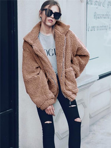 Coat Fashion Lapel Neck Thickened Warm Fluffy Outwear Casual Long Sleeve Women Clothing Women Winter Faux Fur