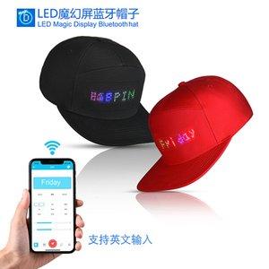 Cappello LED Display Bluetooth APP Hat luce incandescente Cap Club Sports Party viaggio della torcia elettrica golf di baseball di Hip Hop Flash uomini e donne mostrano Mobil