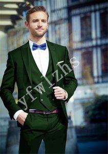 High Quality One Button Handsome Peak Lapel Groom Tuxedos Men Suits Wedding Prom Dinner Best Man Blazer(Jacket+Pants+Tie+Vest) W86