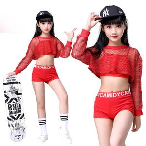 3PCS Ragazze Red Cool Ballroom Jazz Hip Hop Dance Costume Costume Canotte Shorts Net Camicetta per abbigliamento per bambini Danza Abbigliamento