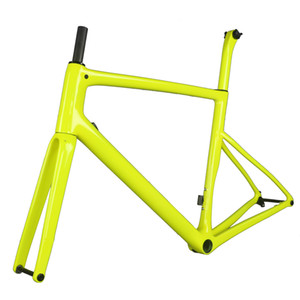 2020 Fluorescent yellow Flat Mount disc carbon road frame Bicycle Frameset T1000 New EPS technology disc carbon frame TT-X19