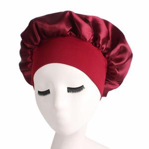 المرأة صالون النوم الصلب قبعة النوم دش حمام Unisex ... ... العلاج الكيميائي المطاطي Bonnet Satin Wide Brimed Hair Care Silk Head Bandband
