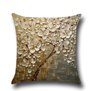Eco-Friendly 3D Дерево Дизайн хлопок белье наволочка талия Назад Throw Подушка Обложка 3D Printed наволочка 45 * 45cm текстиля для дома