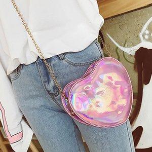 Laser Crossbody Bag for Women Chain Mini Shoulder Bag Heart-shaped Small Messenger Womens Handbags and Purses Evening Bags