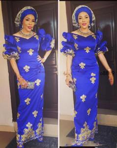 Royal Blue Altın dantel Aplikler Abiye Afrika Arapça yarısı ile 2020 Nijerya Aso Ebi Kılıf Balo elbiseler Parti Elbise vestidos kollu