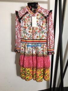 femmes haut de gamme filles courte robe chemise patchwork design de mode jupe imprimé floral cru v-cou à manches longues d'une ligne de robes de luxe à plusieurs niveaux