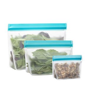 Reutilizável Food Storage Bags Stand-Up PEVA Ziplock Freezer seguro Leakproof laváveis Sacos para almoço lanche de frutas legumes sacos de armazenamento ZZA1856