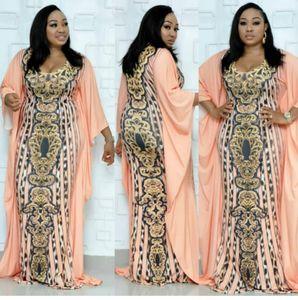 La nueva llegada atractiva diamantes de imitación de leopardo de impresión vestidos de manga larga V Nek sirena Vestido tubo Maxi africana Ropa para Mujer P737