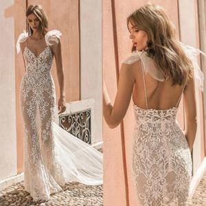 See Through Lace Wedding Dresses 2020 sexy V Neck Spaghetti Straps Mermaid Wedding Gowns Stylish Backless Vestido De Noiva