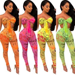 2019 mujeres de la nueva malla de verano ver a través de los pantalones del lápiz letra de la impresión sin espalda superior se adaptan a dos piezas GLS36291 conjunto atractiva playa de chándal