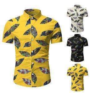 Männlich Designer Bekleidung Herren Flora Short-Hülsen-Shirt-Sommer-beiläufige Revers Ausschnitt Slim Fit Shirt