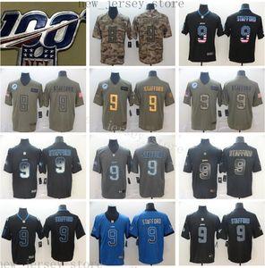 Número 100 jerseys barato DetroitLionsFootball cosido 9 MatthewStafford jersey oro Negro de humo Camo 100 aniversario Patch jerseys