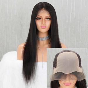 Lace Front Wigs Homme Cheveux raides Pré plumé Hairline Bébé Cheveux 13x4 150% brésilien Remy Human Hair Lace Front Wigs