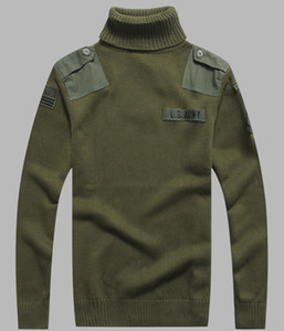 Mens US Army Sweater Patch Design Taktische Armee Gestrickte Highneck Pullover Herbst Winter Casual Dick Pullover Männer