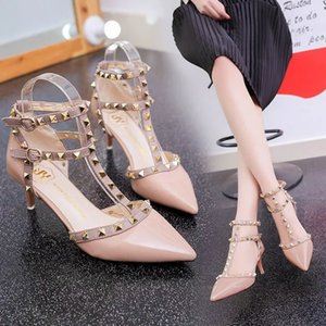 Fine heel women's shoes fashion shoes 2019 summer new high-heeled sandals female pointed rivets fashion women's shoes