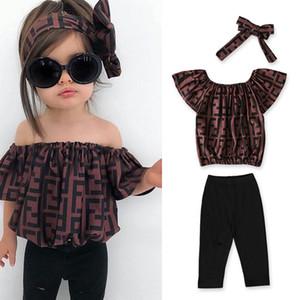 3pcs / set INS bambino di estate Set di abbigliamento lettera Stampa ragazze vestiti carini attrezzature dei bambini Fuori Lettera spalla con fascia