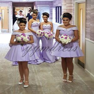 Лаванда короткие платья невесты 2019 с плеча рукавов молния черный платья выпускного вечера свадебные платья для гостей Vestito da sposa