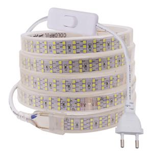 새로운 276Leds / m 세 행 LED 스트립 2835 SMD 220V 240V 방수 소프트 LED 테이프 라이트 디 밍이 가능한 램프 거실 홈 장식