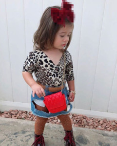 Toddler Baby Kid Girls Clothes Leopard T-shirts+Ripped Denim Skirt Dress Outfits