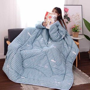 Beautiful Soft Multifunction Lazy Quilt with Sleeves Winter Warm Thickened Washed Quilt Blanket Hogard DC14