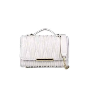 Designer luxury ladies wallet high-quality leather handbag shoulder bag stylish personality pure white small square bag, chain, with box