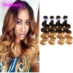 Brasiliano Virgin Hair Body Wave 1b 4 27 Ombre Thanbre 100% Capelli umani Estensioni 4 Bundles 1b / 4/72 Double WeFts 4 pezzi