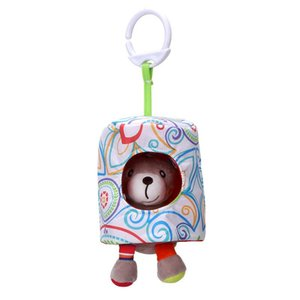 Cute Cartoon Animal Shape Hide Seek Pull Vibration Pendant Plush Toy for Infant