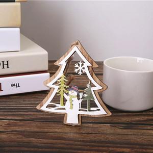 Navidad colgante de madera colgante árbol de Navidad Ventana Adornos árbol de Navidad de los niños de juguete de regalo de Navidad de pantalla de Navidad decoración del partido