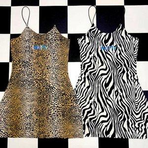 Herbst Allmächtig Ärmellos Sexy Kleid Brief Stickerei Leopardenmuster Party Weihnachten Kleider Bodycon Mantel Sommerkleid Y190514