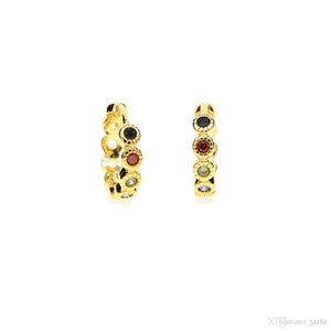 simple 18k yellow gold plated 10mm mini small hoop multi color cubic zirconia women girl huggie hoop earring