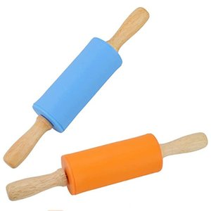 Mini Rolling Pin, 2 Pack Kids Size Wooden Handle Rolling Pin Non-Stick Silicone Rolling Pins for Home Kitchen Children Cake