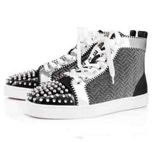 Cravado preto de alta qualidade para os homens sapatos de fundo Red Sneakers luxo e dos homens Orlato Spikes Sliver Plano Sneakers Grey couro genuíno Outdoor
